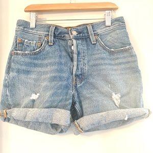 Levi's 501 Cuffed Distressed HighRise Jean Shorts